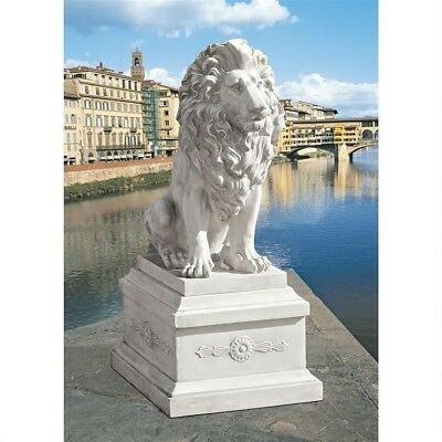 Antiqued Handcrafted Italian Lion of Florence Palazzo Vecchio Statue & Base New
