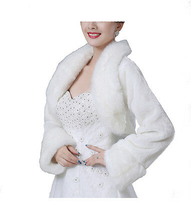 New Bridal Ivory Faux Fur Bolero Shawl Shrug One Size Fur09