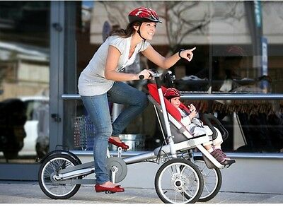 3in1 Baby Stroller Bike 3 Wheel 16'' Pushchair Carrier Folding Mother's Bicycle
