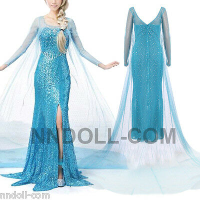 DONNA CARNEVALE COSTUME FROZEN Dress up Elsa VESTITO TRAVESTIMENTO adulto 12 y