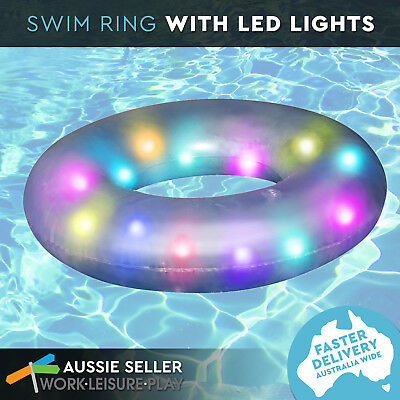 LED Light up Swim Ring 91cm Inflatable Pool Water Toy by Airtime Lights Aqua Par
