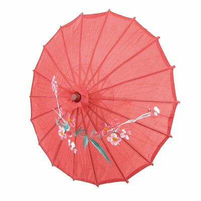 """Red Cloth Bamboo 21"""" Dia Chinese Oriental Umbrella Parasol T1"""