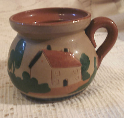 VINTAGE WATCOMBE DEVON POTTERY CUP ~ MOTTO WARE ~  COTTAGE DESIGN ~ 5.5 x 5.5""