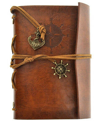 Light Brown Pirate Retro Vintage Pocket PU Leather Notebook Kraft Diary Journal