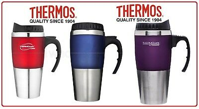 ❤ Thermos STAINLESS STEEL VACUUM INSULATED Cafe Travel Mug Blue OR Red 450ML ❤