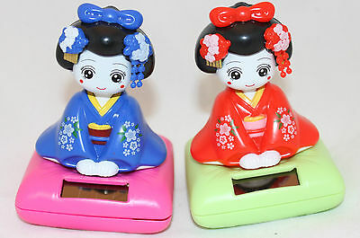 Set of 2 Solar Bobblehead Toy Figure, Maiko Geisha - Blue and Red