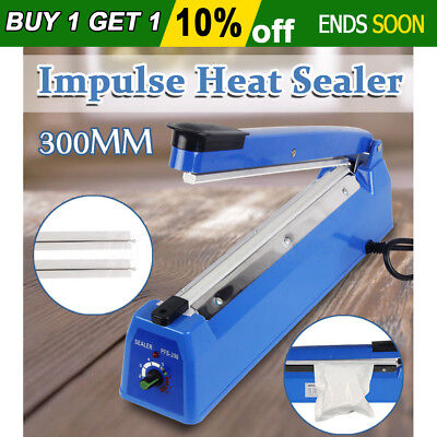 300mm Impulse Heat Sealer Electric Plastic Poly Bag Sealing Machine Upgraded New