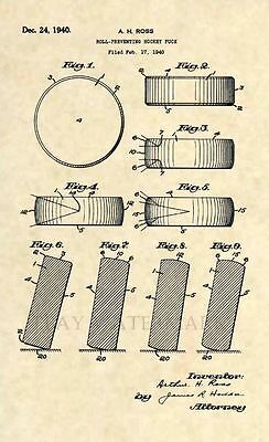 Official Ice Hockey Puck US Patent Art Print- Original Antique NHL Vintage 314