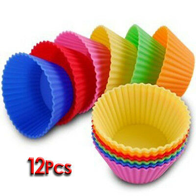 12 pcs Silicone Cake Cupcake Liner Baking Cup Mold T1