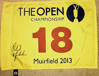 Phil Mickelson signed british open 2013 pin flag / COA PROOF
