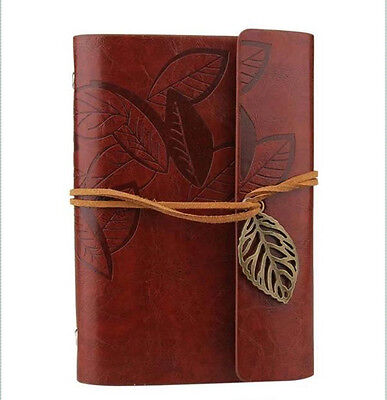 Red Brown Retro Vintage PU Leather Pocket Notebook Kraft Diary Travel Journal