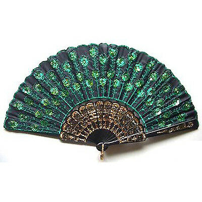 Beautiful Lady's Silk Hand Fan with Green Sequins T1