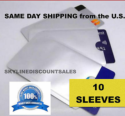 10 Pack of Safety Sleeves RFID Protectors Identity Theft &Credit Card Protection
