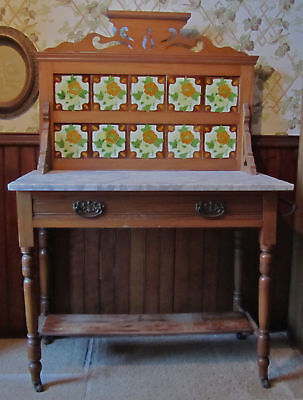 Antique 1800s Marble Top Maple Washstand w/3-D Majolica Tiled Back Must See!