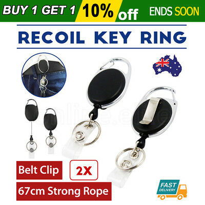 2X Retractable Chain ID Holder Key Reel Recoil Ring Belt Clip Pull Black AU 67CM