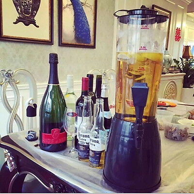 2.5L Beer Tower Dispenser Table Top Beverage Cold Draft With Ice Holder Bar Tool