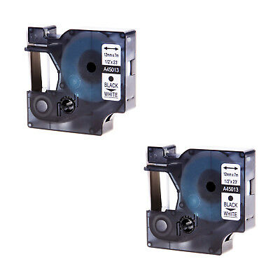 2PK A45013 D1 Black on White Label Tape for DYMO LabelManager 450 260D S0720530
