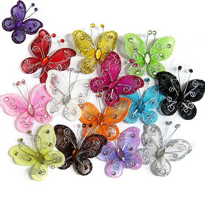 10PCS Organza Wire Rhinestone Butterfly / EMBELLISHMENTS GLITTER CRAFT BOWS WITH
