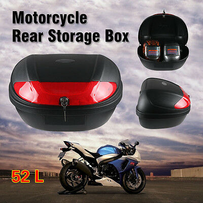 2017 52L Motorcycle Universal Scooter Top Tail Box Rear Storage Luggage Two Keys