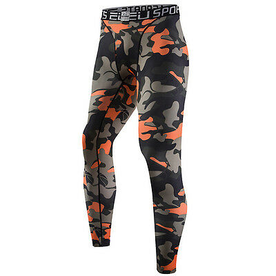 Orange Camouflage Mens Compression Thermal Base Layer Tights Fitness Long Pants