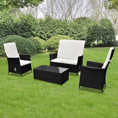 New Black Outdoor Poly Rattan Furniture Set 2+1+1 Multi-functional Polyester