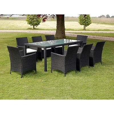 New Black Poly Rattan Garden Furniture Set 1 Table 8 Chairs Steel Frame
