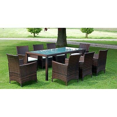 New Brown Poly Rattan Garden Furniture Set 1 Table 8 Chairs Steel Aluminium PE