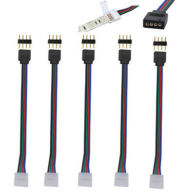 WOW - 5X 10mm 4 Pin RGB 5050 3528 LED Strip Light PCB Connector Adapter Cable