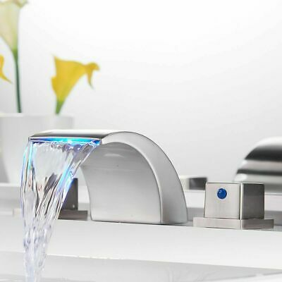LED Waterfall Bathroom Basin Faucet Widespread Vanity Sink Tub Faucet Mixer Tap