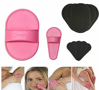 UK Smooth Away Legs Skin Pads Arm Face Hair Removal Remover Exfoliator Set