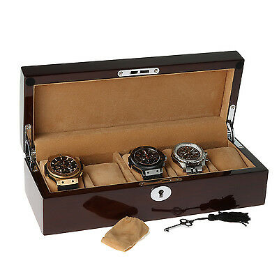 Walnut Watch Collector Box with Chrome fittings for 5 watches by Aevitas