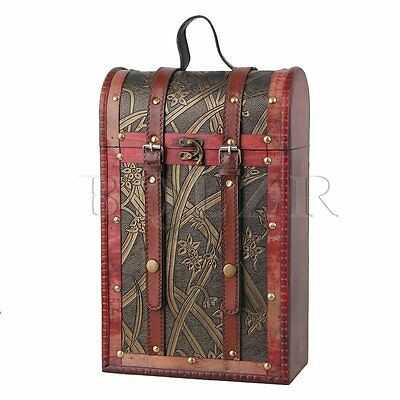 Natural Wooden Vintage Wine Box Daffodil Style Wine Case for Gift Holds 2 Bottle