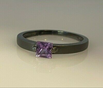 Very Unique 14k White Gold Black Rhodium Princess Cut Amethyst Satin Finish Ring