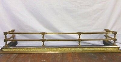 Antique Brass Fireplace Fender W/ Ornate Majolica Tiles