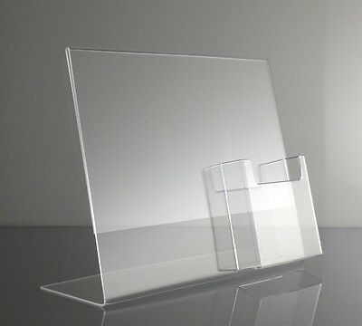 Clear acrylic 11 x 8.5 slanted sign holder display with tri fold brochure