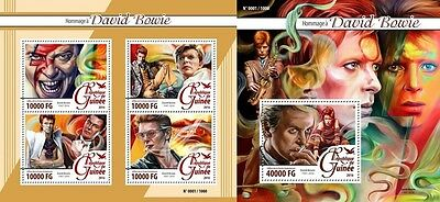 Z08 Imperforated GU16105ab GUINEA (Guinee) 2016 David Bowie MNH Set
