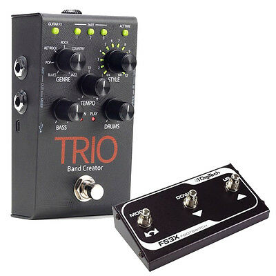 Digitech TRIO Band Creator Guitar Effects FX Pedal with FS3X Footswitch