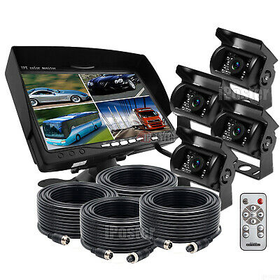 "7"" Split Quad Car Reversing Monitor 4 Video +4x Truck CCD Backup Camera 24V-12V"