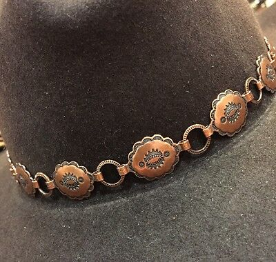SOLID COPPER STAMPED 15 CONCHO Handmade BRAIDED Hatband HAT BAND Tan/Brown