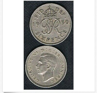1950 BRITISH UK GEORGE VI LUCKY WEDDING SIXPENCE -.99 shipping