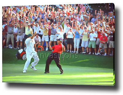 TIGER WOODS CANVAS ART PRINT POSTER PHOTO GOLF 16th the MASTERS 2005 Chip