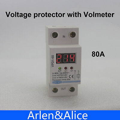 80A 220V Din rail over and under voltage protective device relay with voltmeter