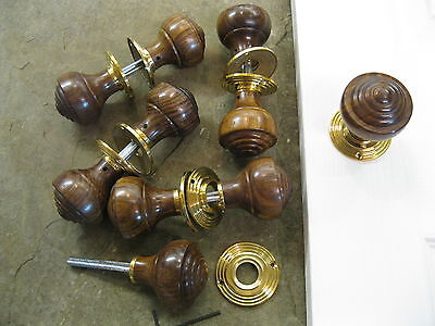 Pair of Victorian Edwardian Reproduction Rosewood Reeded Door Knobs & Roses RES2