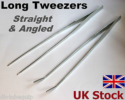 "LONG TWEEZERS  10.5""  27cm Stainless Steel  Straight End  Angled End - UK Stock"