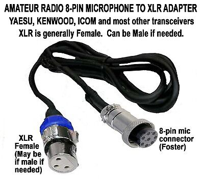 Amateur Ham Yaesu Kenwood Icom Other 8-Pin Microphone To Xlr Female (Male) Cable