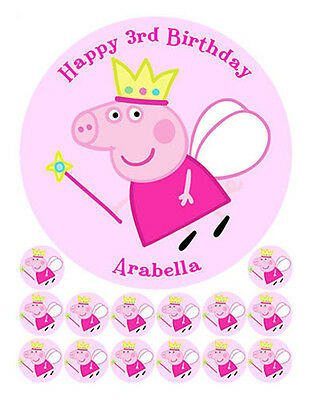 Peppa Pig Personalised Edible Wafer Cake Image And 14 Cupcake Cup Cake Toppers