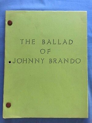The Ballad Of Johnny Brando - Script Signed By Screenwriter Paul Jarrico