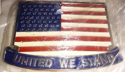 "United States Of America ""UNITED WE STAND"" Flag, Metal, Novelty Belt Buckle"