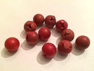 11 Vintage wood red painted ball shape self shank buttons lot