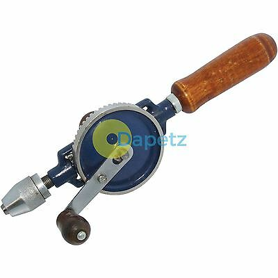 """2pc Hand Drill Double Pinion 1/4"""" Chuck Wooden Handle Intricate Drilling Crank"""